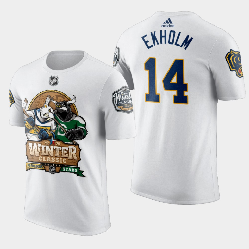White Men's Nashville Predators Mattias Ekholm 2020 Winter Classic T-Shirt