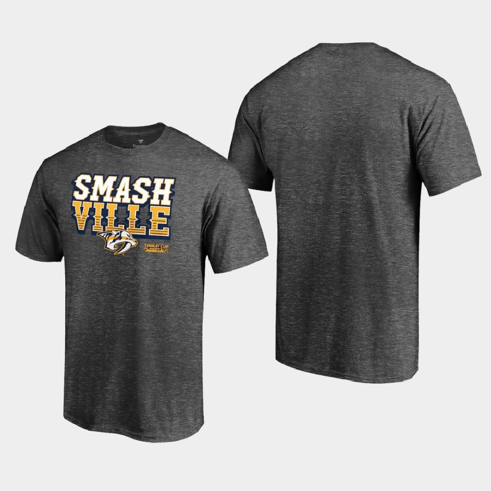 Men's 2021 Stanley Cup Playoffs Nashville Predators T-Shirt Charcoal