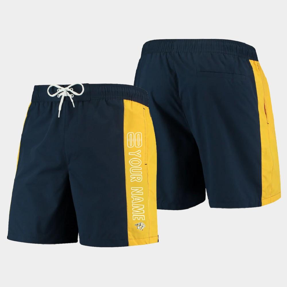 Men's Custom Nashville Predators Shorts Swim Trunk Navy Gold