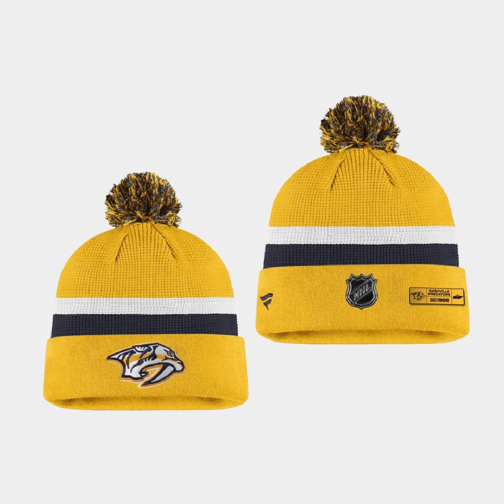 Men's Nashville Predators 2020 NHL Draft Yellow Navy Knit Hat