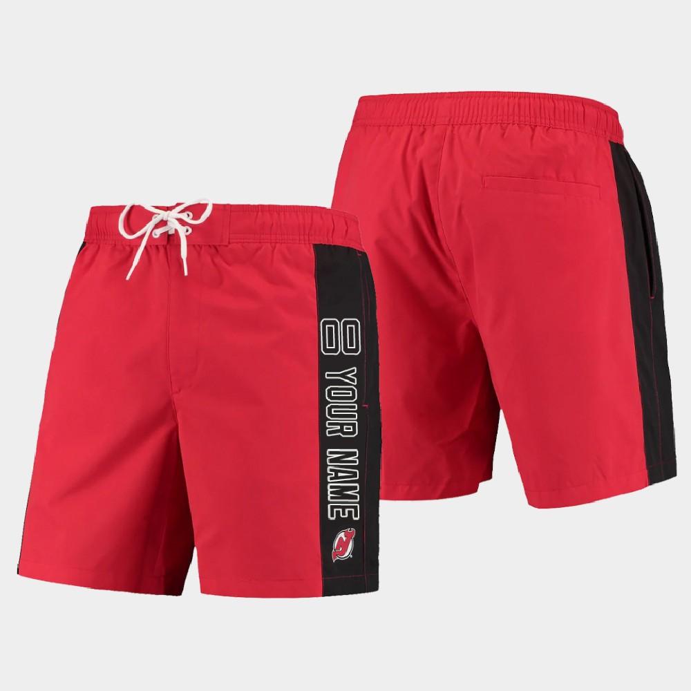 Men's New Jersey Devils Custom Shorts Swim Trunk Red Black