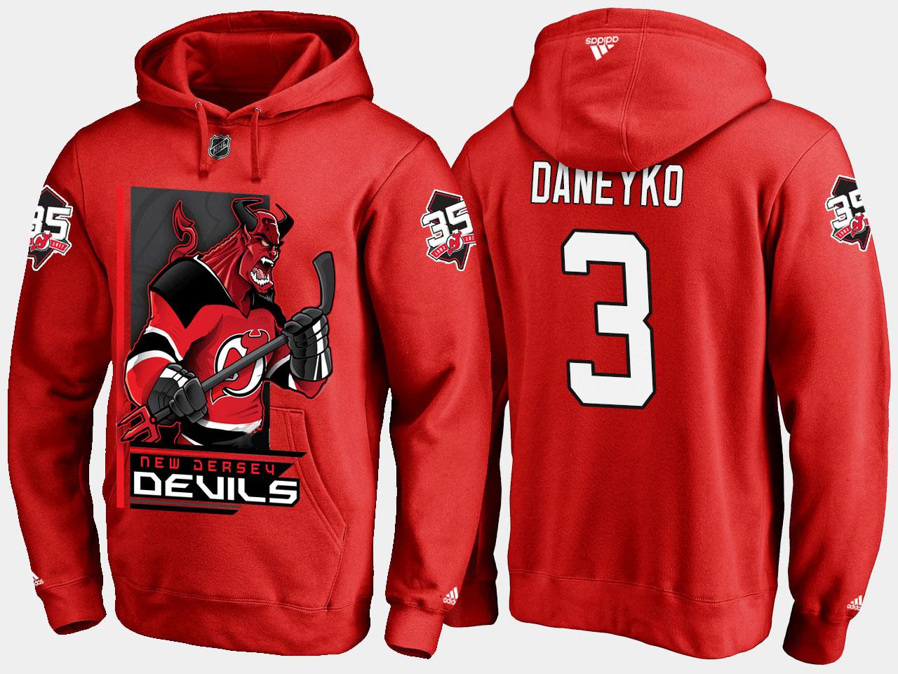 Men's New Jersey Devils Red Ken Daneyko Cartoon Hoodie