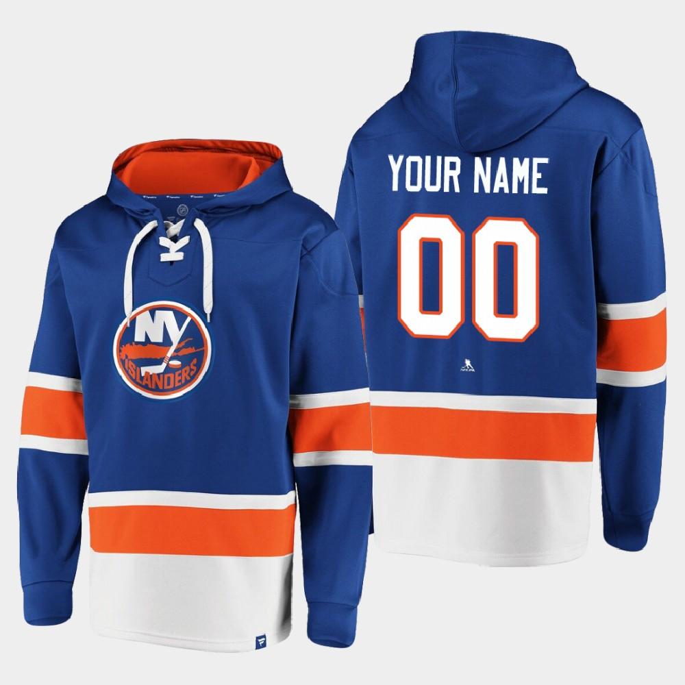 Men's Custom New York Islanders Royal Hoodie Dasher Player