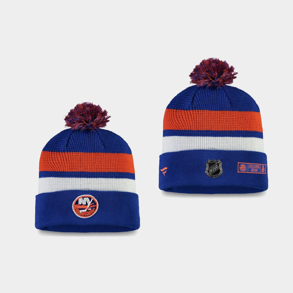 Men's New York Islanders 2020 NHL Draft Royal Orange Knit Hat