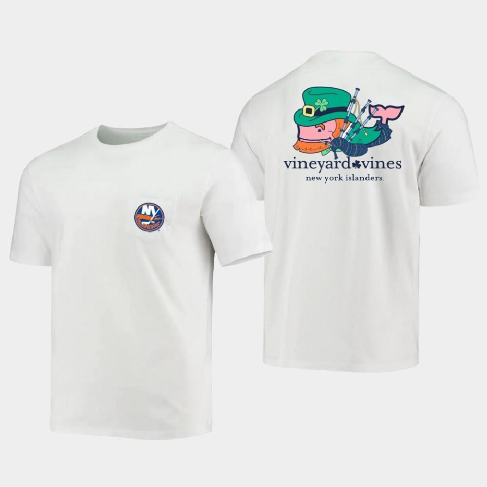 White Men's New York Islanders St. Patrick's Day T-Shirt