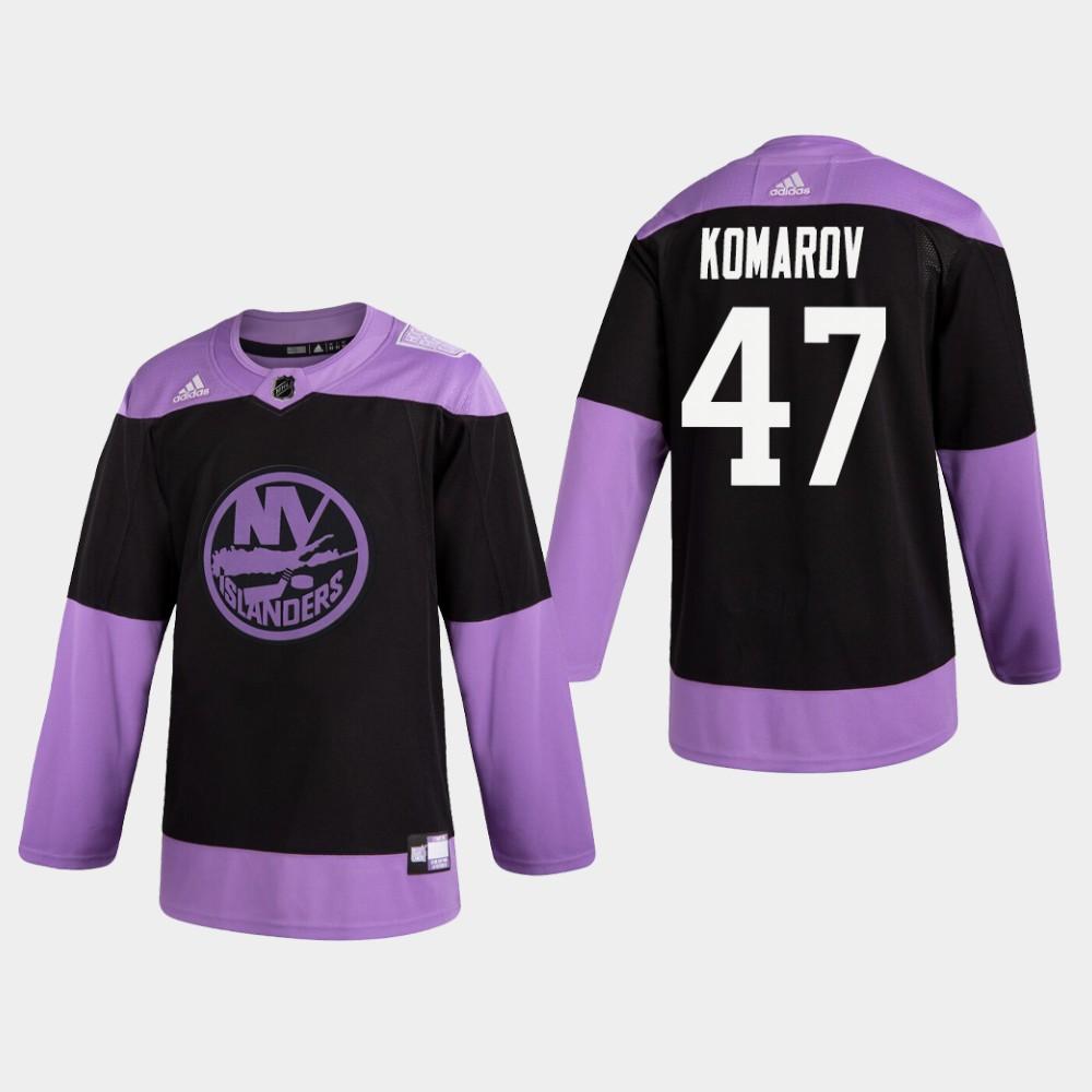 Men's Jersey Black New York Islanders Hockey Fights Cancer Leo Komarov