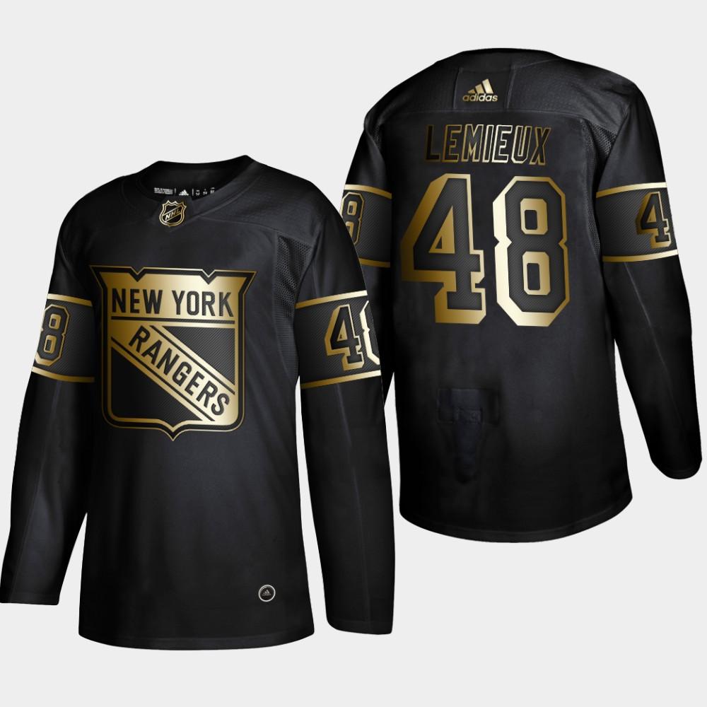 Men's Jersey Black NHL Golden Edition New York Rangers Brendan Lemieux