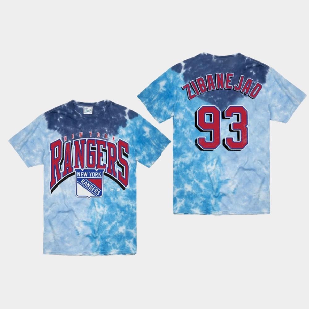 Men's Blue New York Rangers Mika Zibanejad T-Shirt Vintage Tubular