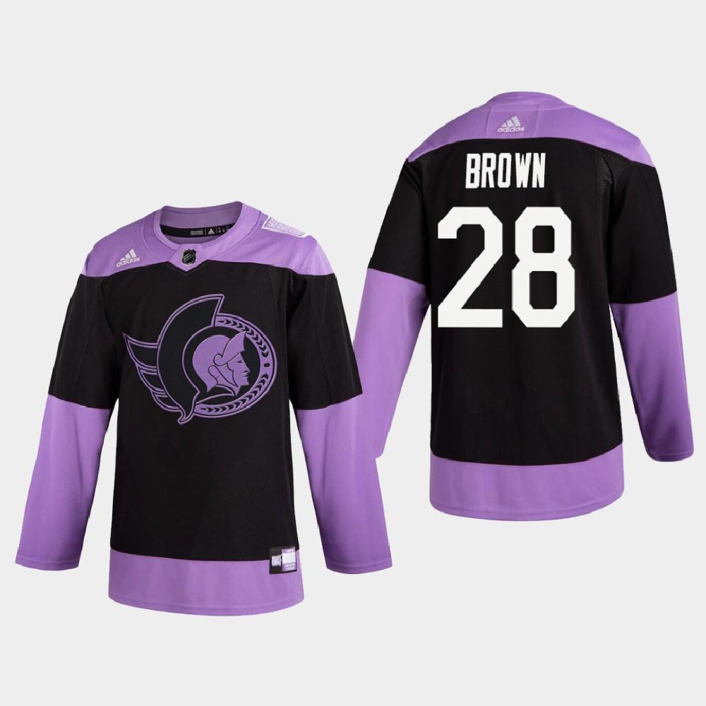 Men's Jersey Ottawa Senators Connor Brown Purple Hockey Fights Cancer