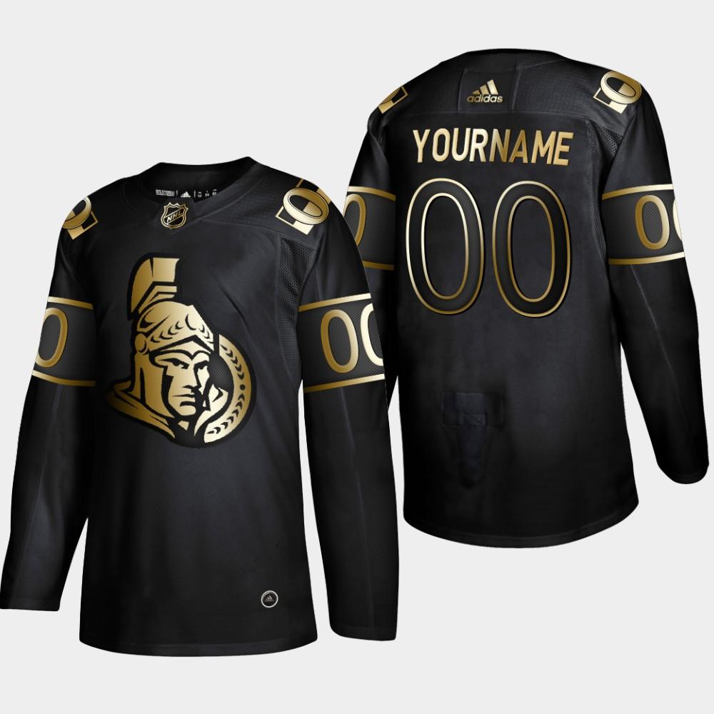 Men's Jersey Black Custom Ottawa Senators NHL Golden Edition