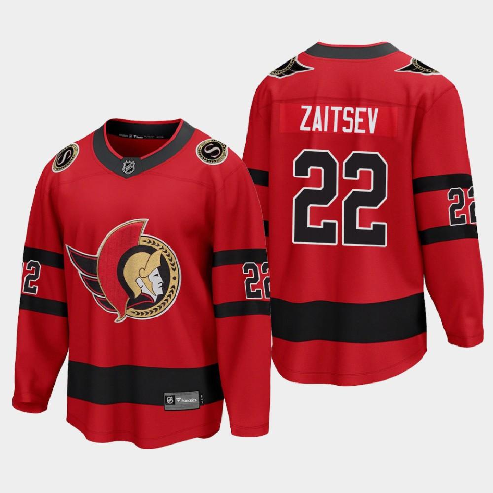 Men's Jersey Reverse Retro Red Ottawa Senators Nikita Zaitsev
