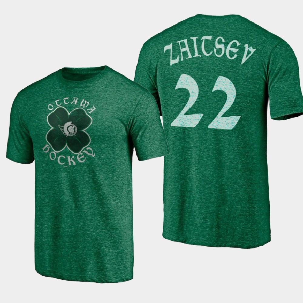 Men's Ottawa Senators Nikita Zaitsev St. Patrick's Day Kelly Green T-Shirt