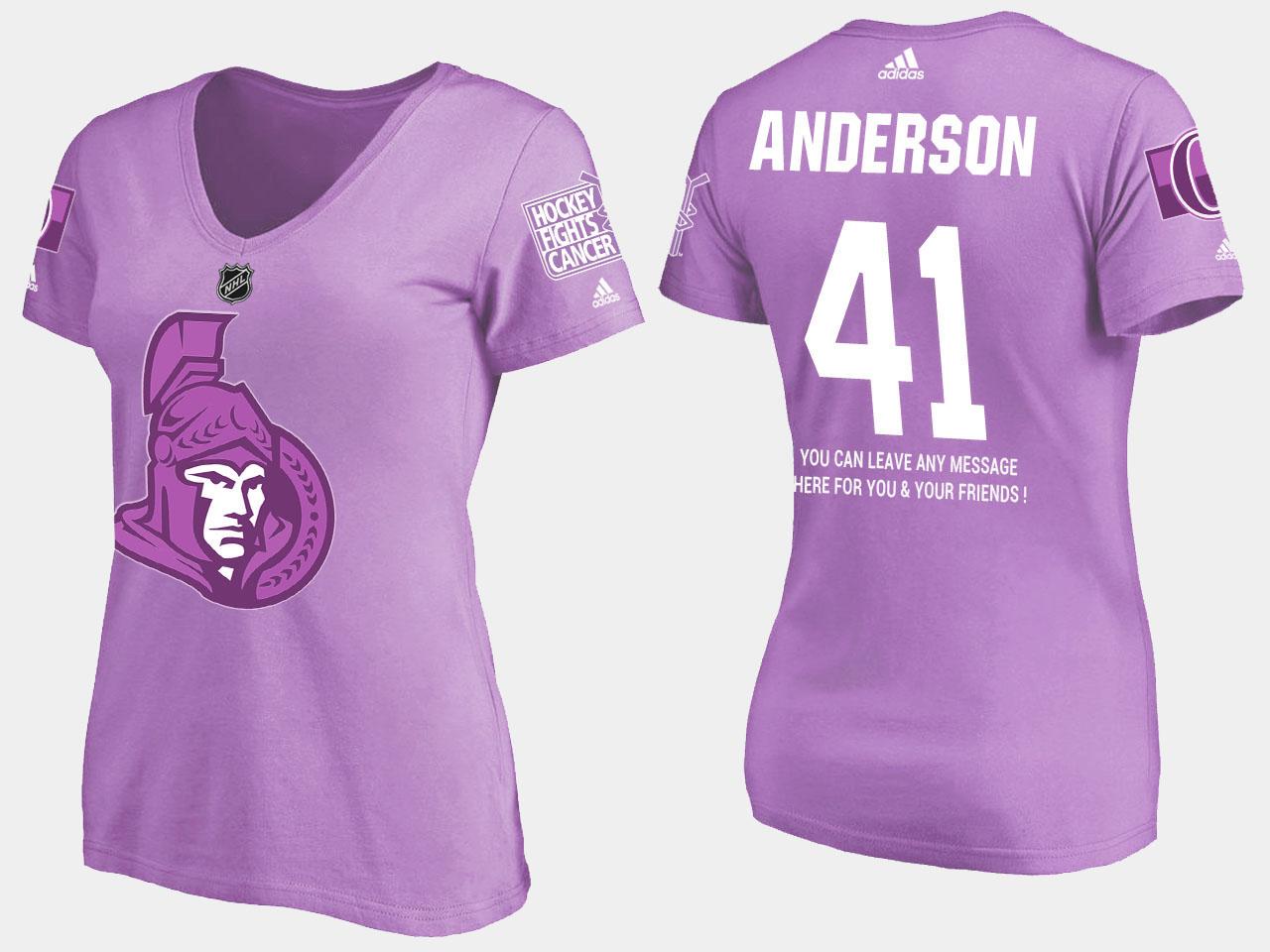 Women's Craig Anderson Ottawa Senators Purple T-Shirt Fights Cancer