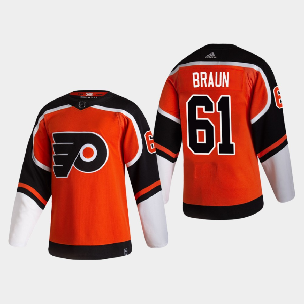 Men's Jersey Reverse Retro Philadelphia Flyers Orange Justin Braun