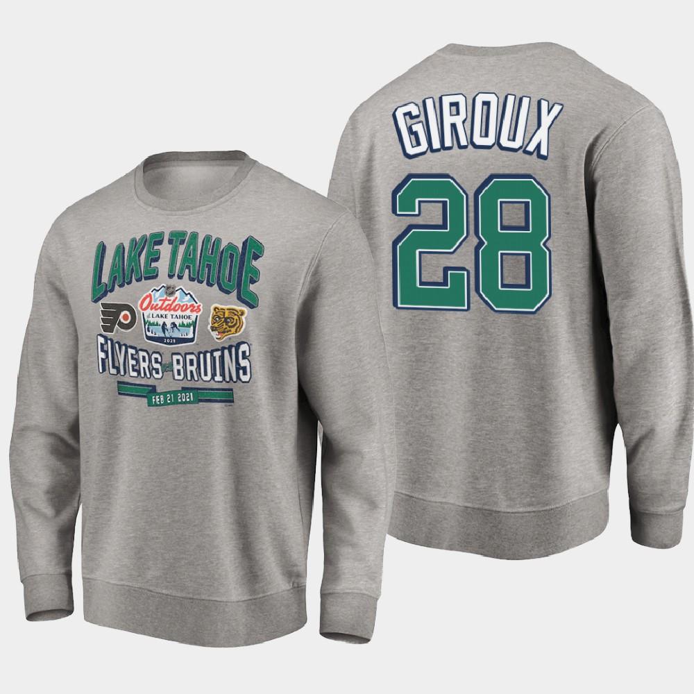 Men's Gray Philadelphia Flyers Claude Giroux 2021 Lake Tahoe Outdoor Games Sweatshirt