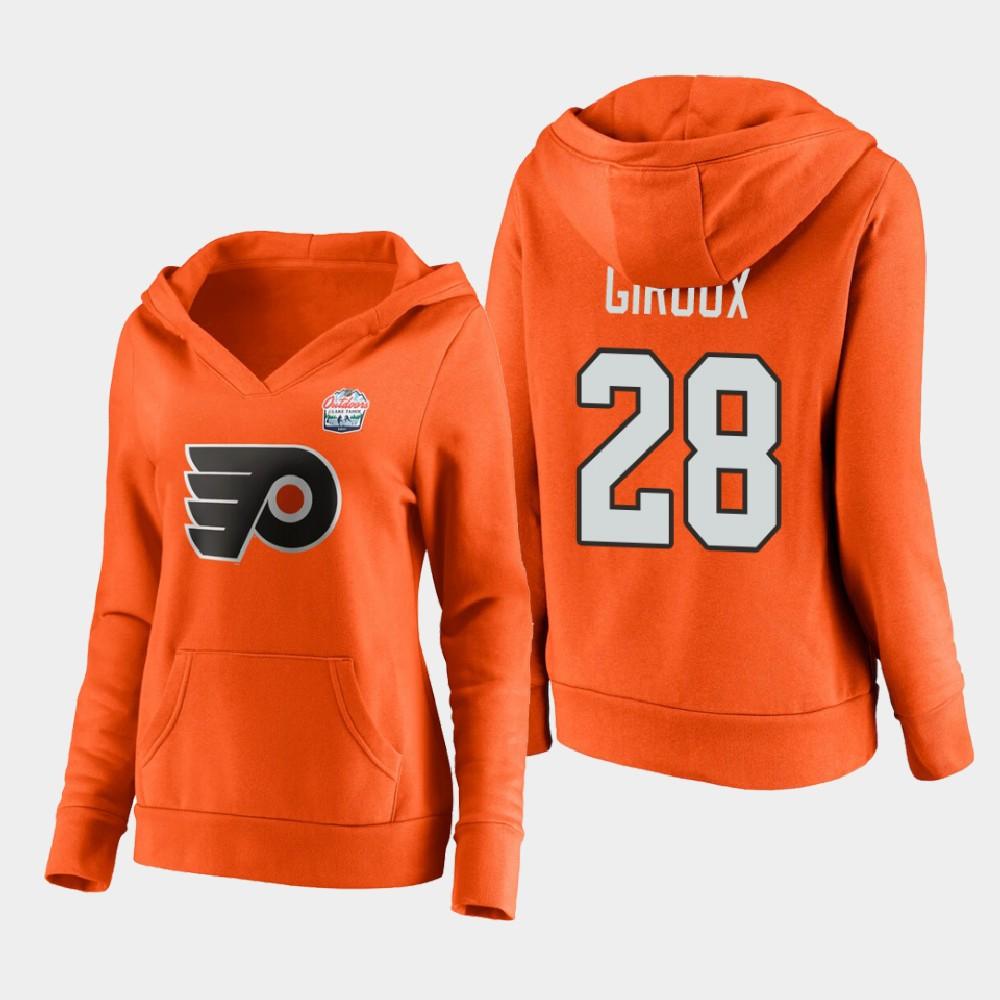 Women's Philadelphia Flyers Orange Claude Giroux 2021 Lake Tahoe Outdoor Games Hoodie