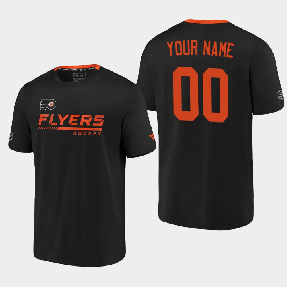 Men's Black Custom Philadelphia Flyers T-Shirt Authentic Pro