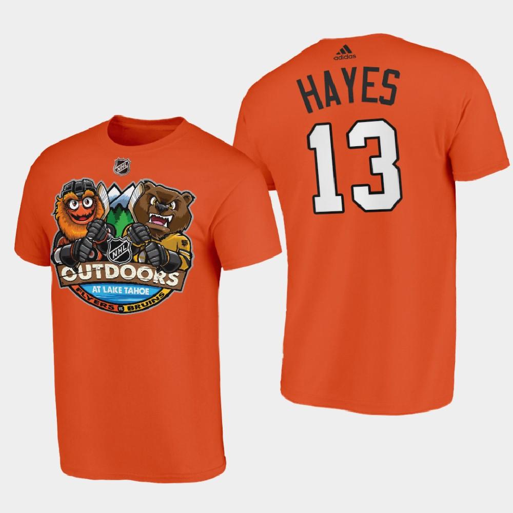 Men's Philadelphia Flyers Orange Kevin Hayes 2021 Lake Tahoe Outdoor Games T-Shirt
