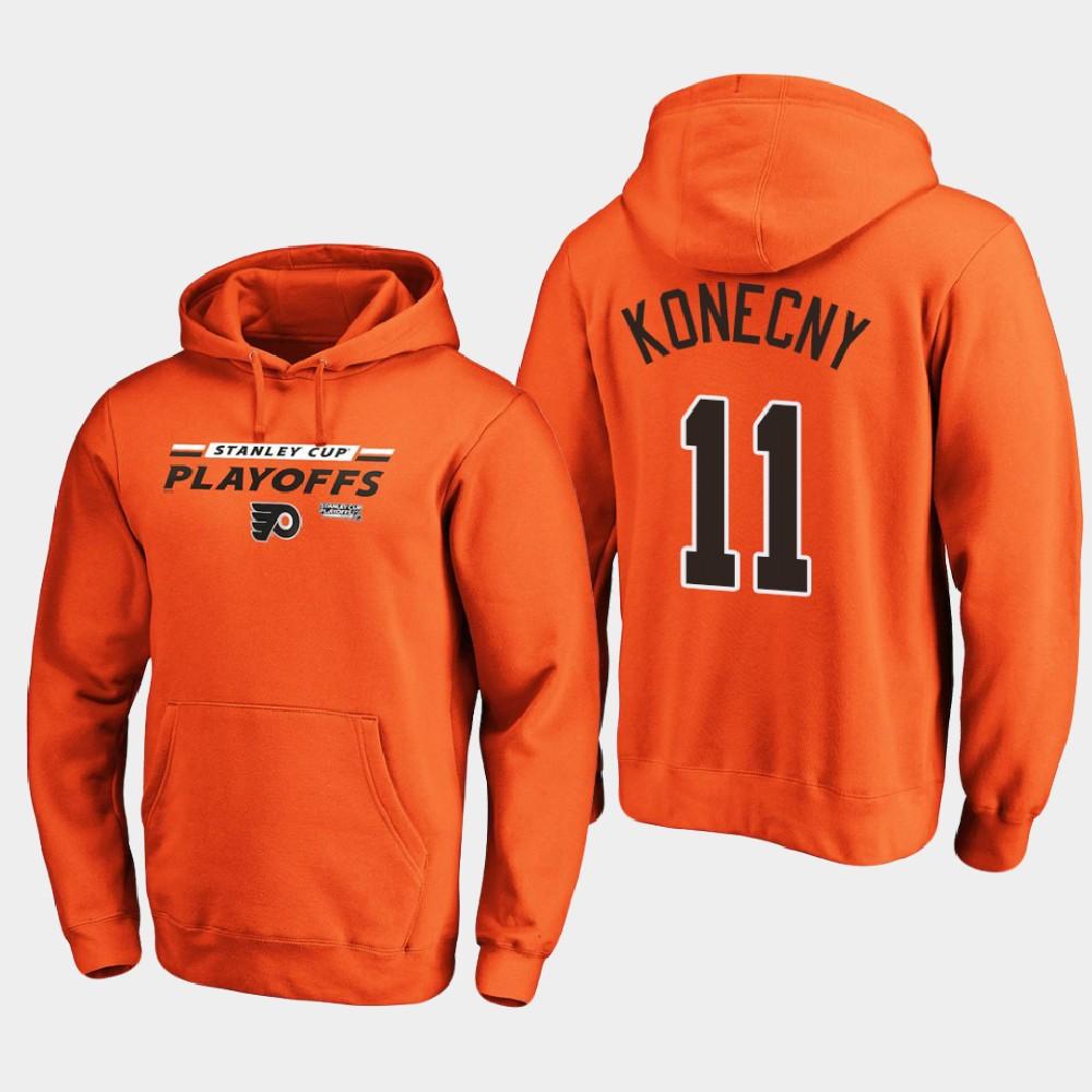 Men's Philadelphia Flyers Orange Travis Konecny 2020 Stanley Cup Playoffs Hoodie