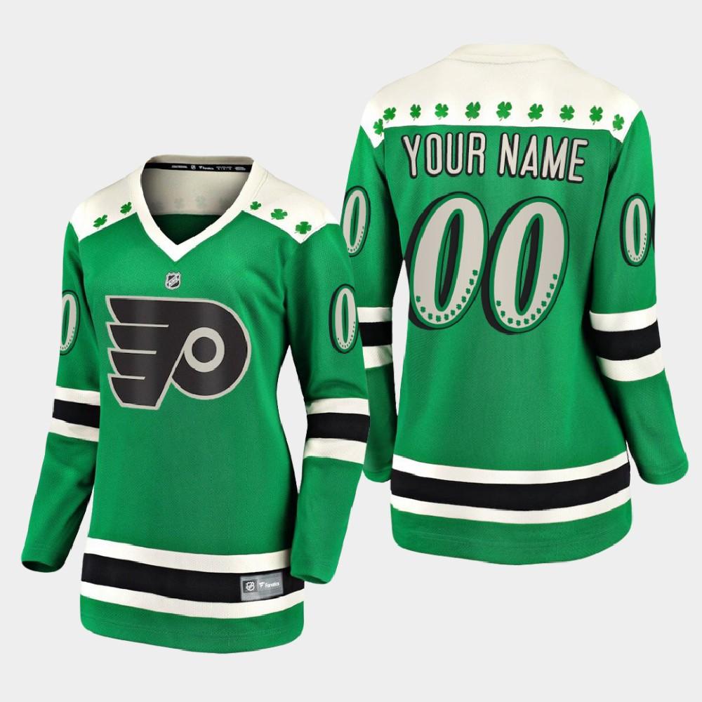 Jersey Custom Green Women's Philadelphia Flyers St. Patrick's Day