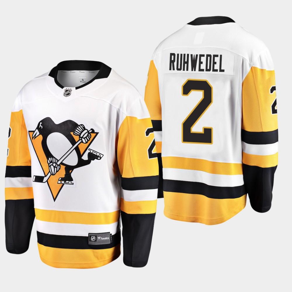 White Men's Jersey Away Pittsburgh Penguins Chad Ruhwedel