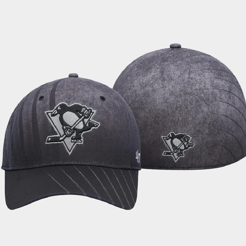 Men's Black Pittsburgh Penguins Hat Dark Haze Team Solo
