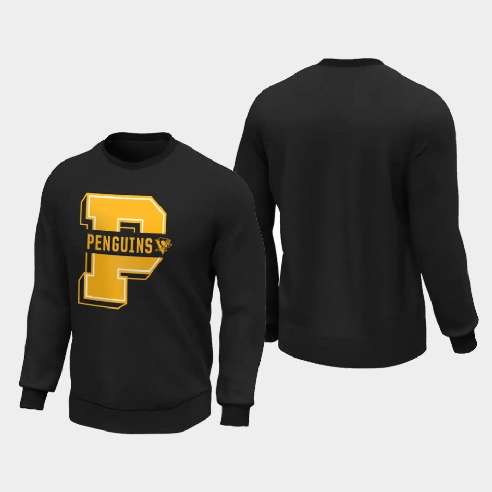 Men's Black Pittsburgh Penguins Sweatshirt College Letter