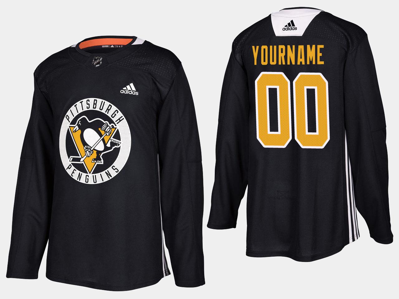 Men's Jersey Home Black Custom Pittsburgh Penguins