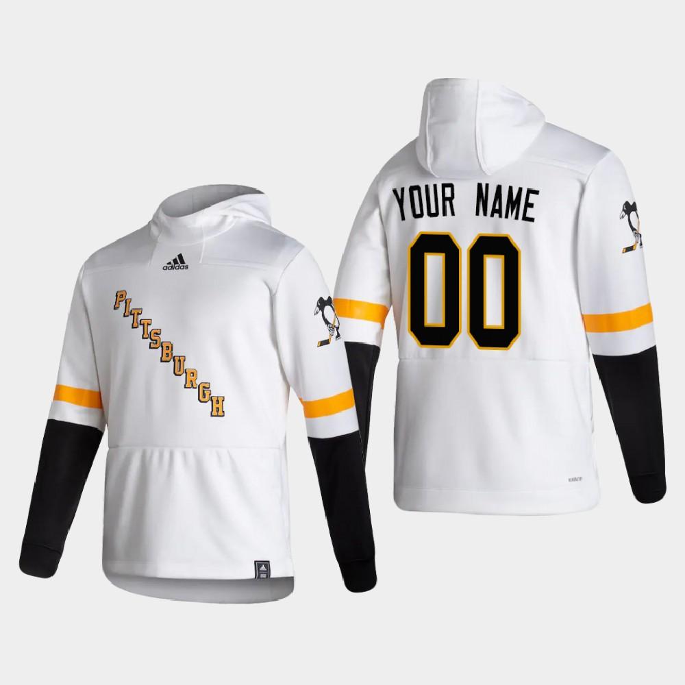White Men's Reverse Retro Custom Pittsburgh Penguins Hoodie