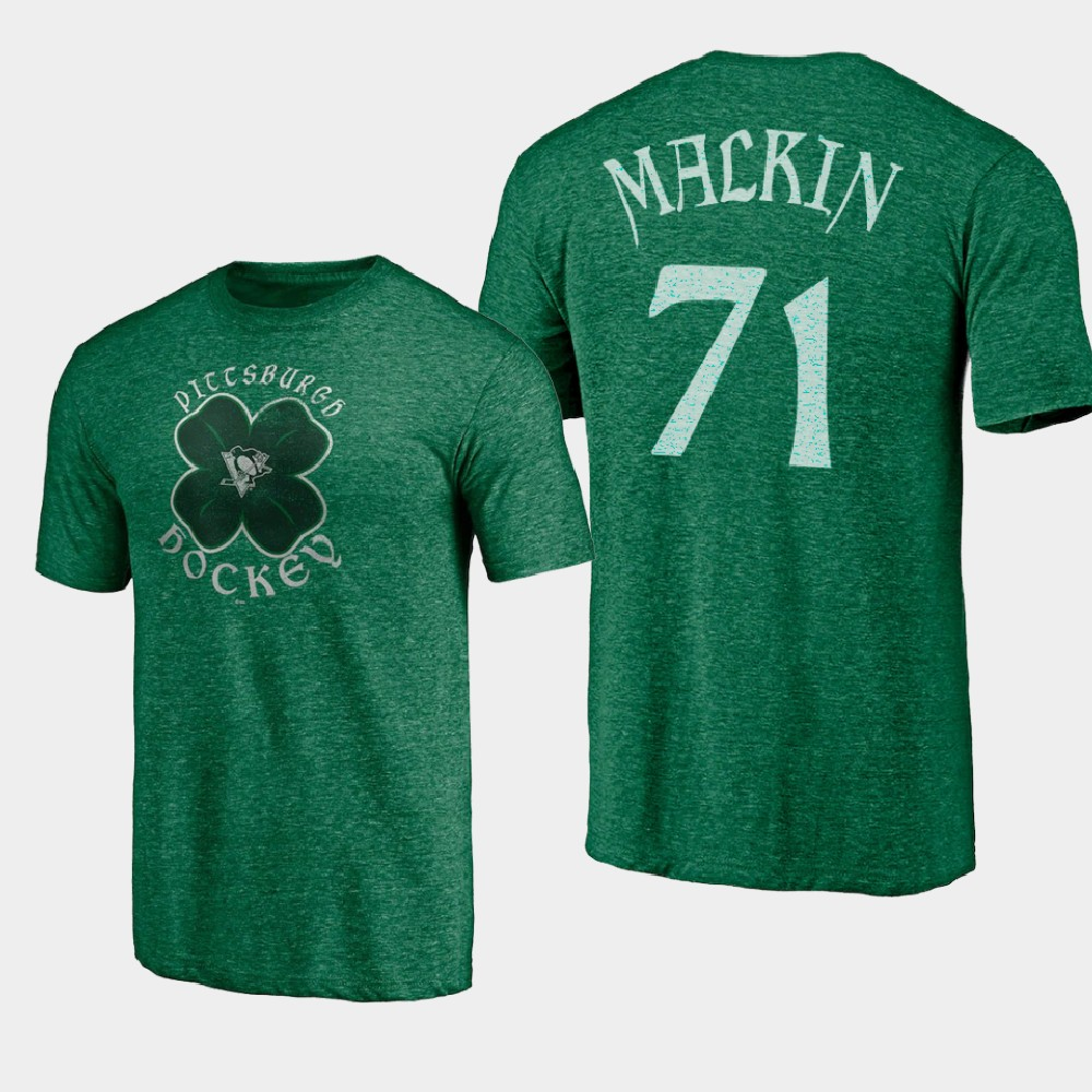 Men's Pittsburgh Penguins Evgeni Malkin St. Patrick's Day Kelly Green T-Shirt