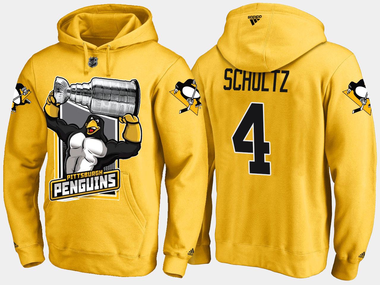 Men's Justin Schultz Pittsburgh Penguins Yellow Cartoon Hoodie