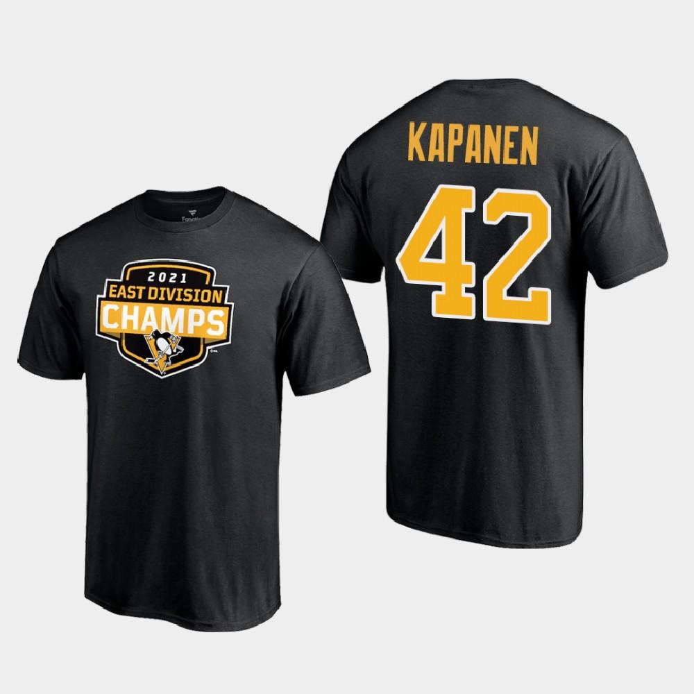 Men's Black Pittsburgh Penguins Kasperi Kapanen T-Shirt 2021 East Division Champions