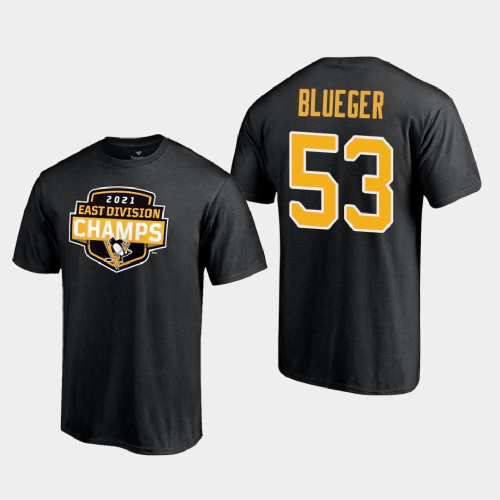 Men's Black Teddy Blueger Pittsburgh Penguins T-Shirt 2021 East Division Champions