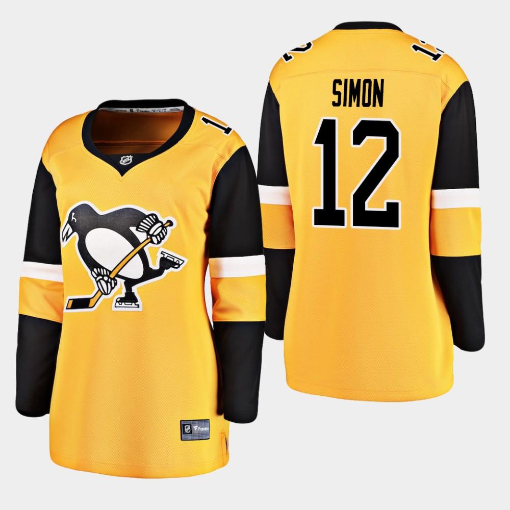 Jersey Alternate Women's Pittsburgh Penguins Gold Dominik Simon