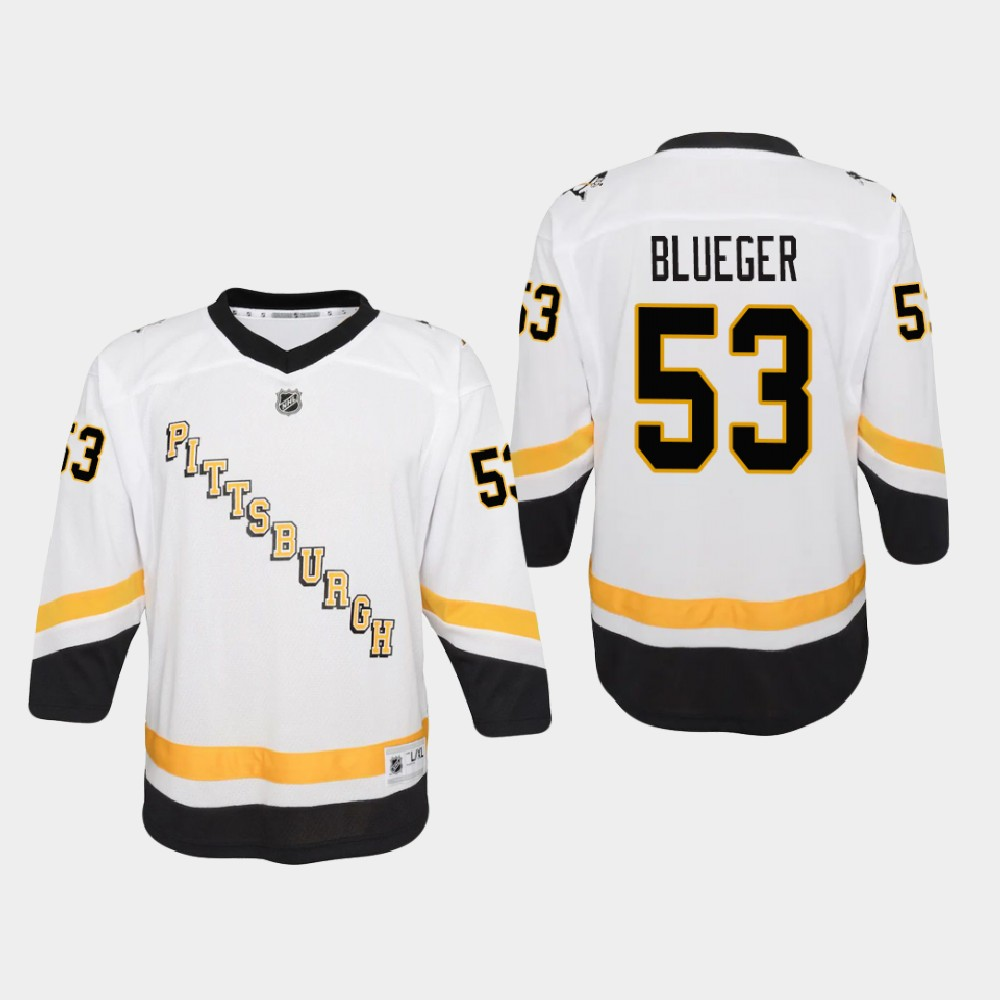 White Jersey Reverse Retro Teddy Blueger Youth Pittsburgh Penguins