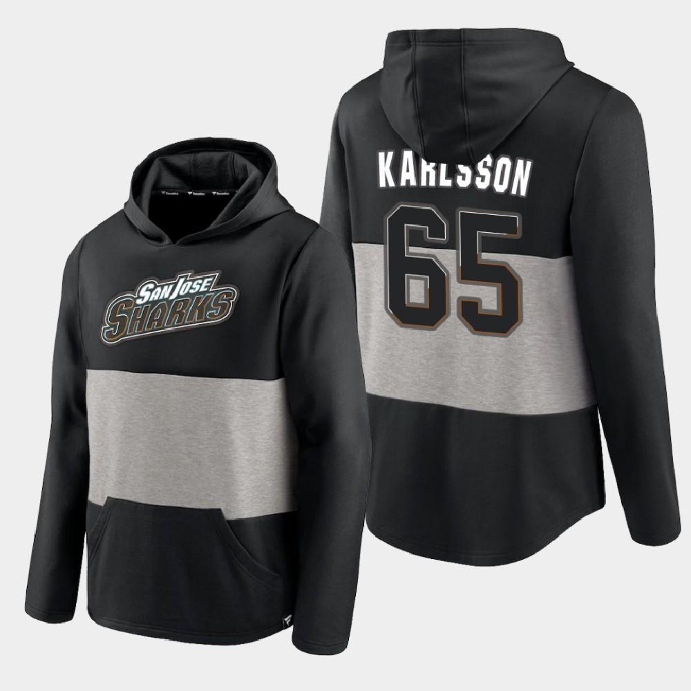 Men's Black San Jose Sharks Erik Karlsson Prep Colorblock Hoodie