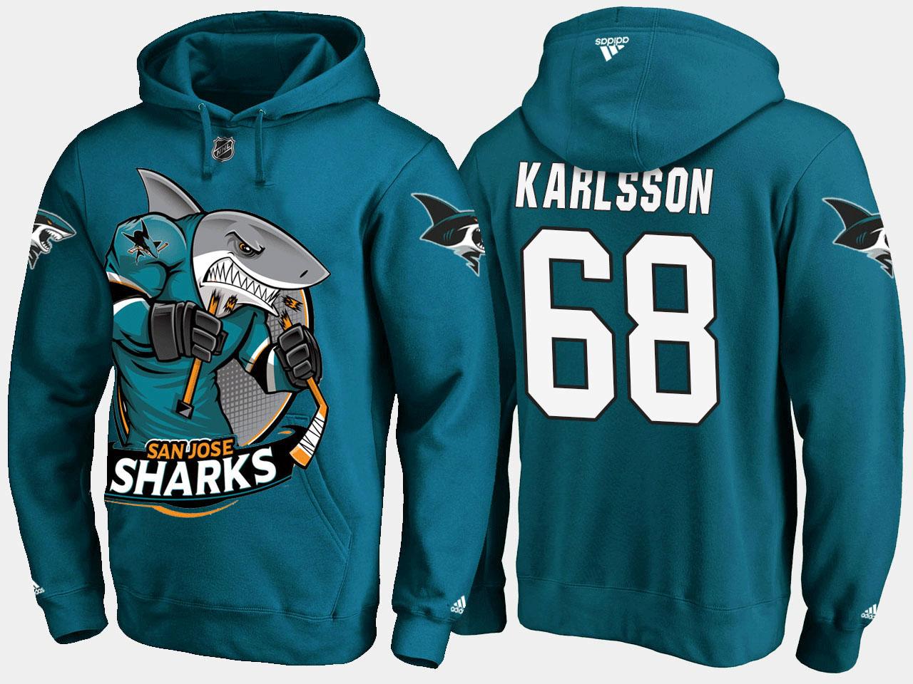 Men's San Jose Sharks Teal Melker Karlsson Cartoon Hoodie