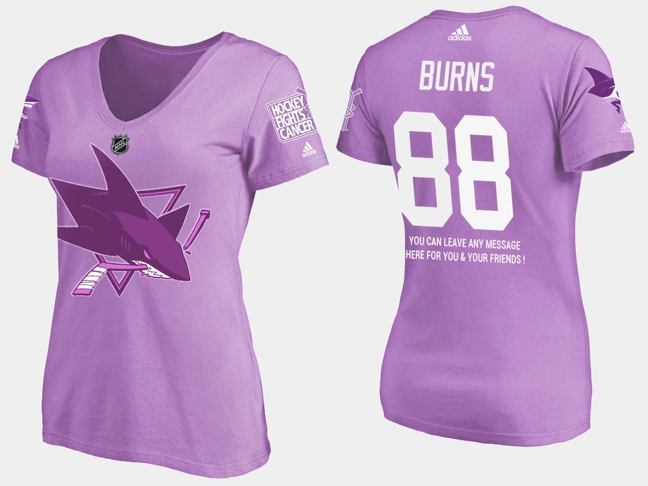 Women's San Jose Sharks Purple Brent Burns T-Shirt Fights Cancer