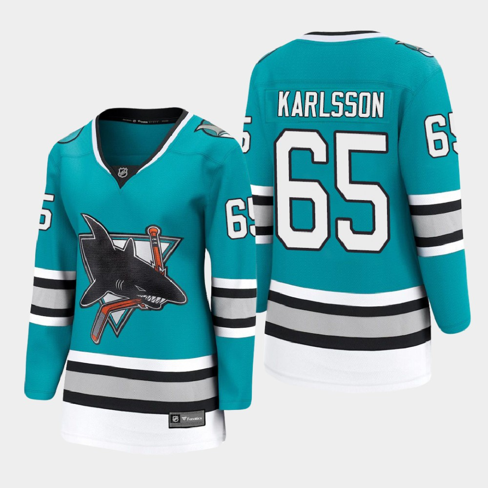Jersey Women's San Jose Sharks Erik Karlsson Teal 30th Anniversary
