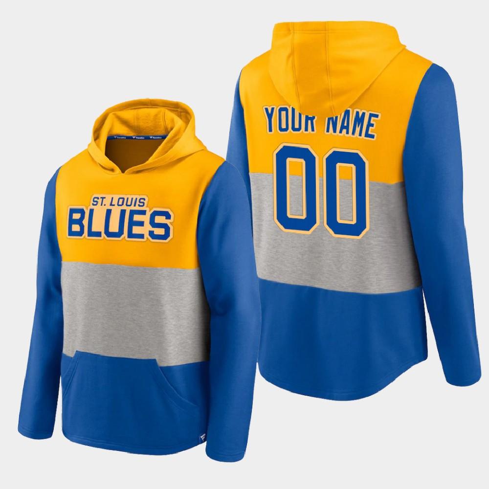 Men's Custom Gold St. Louis Blues Prep Colorblock Hoodie