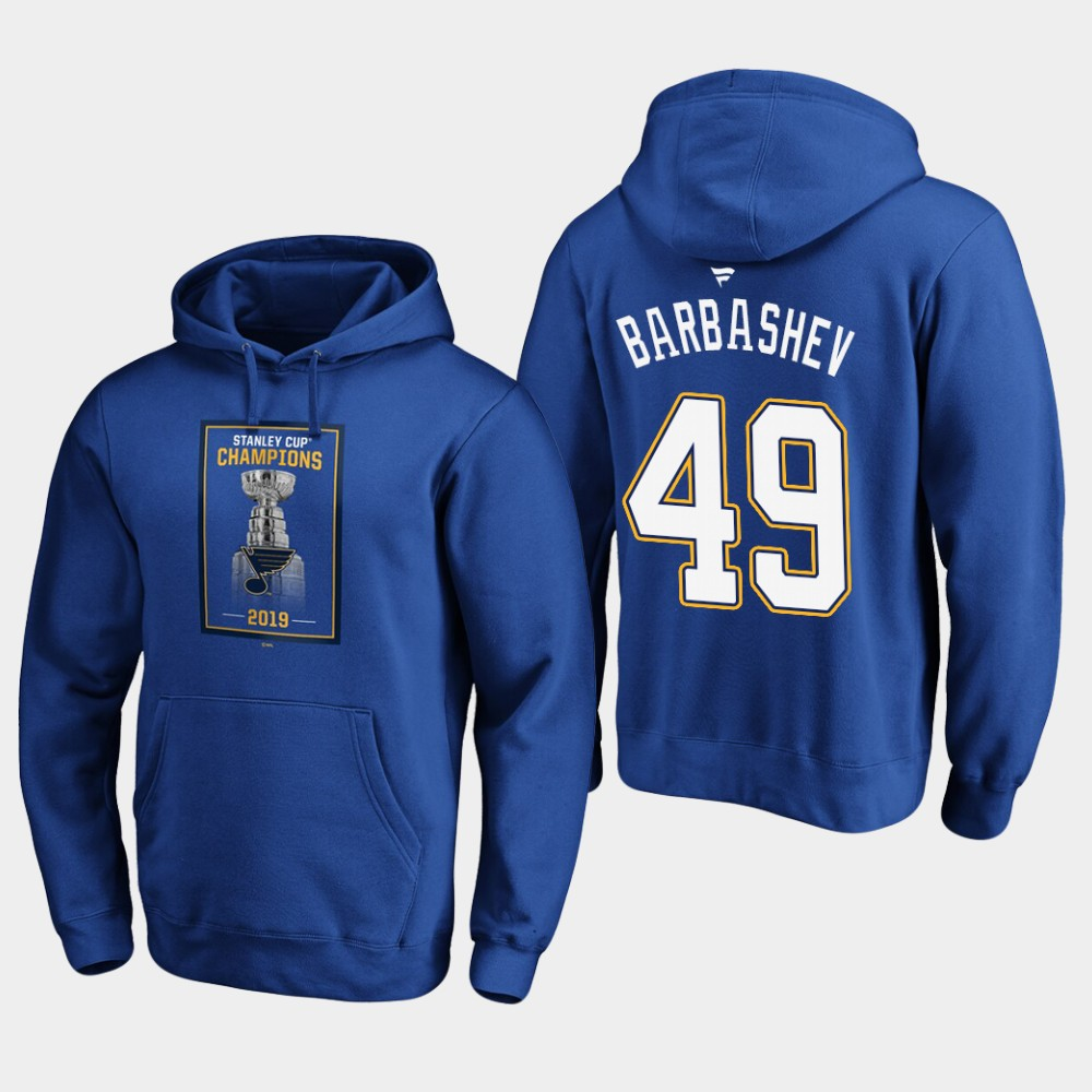 Men's Royal St. Louis Blues Ivan Barbashev Hoodie 2019 Stanley Cup Champions