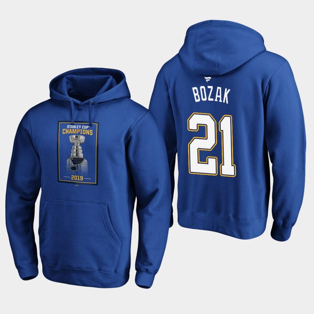 Men's Royal St. Louis Blues Tyler Bozak Hoodie 2019 Stanley Cup Champions