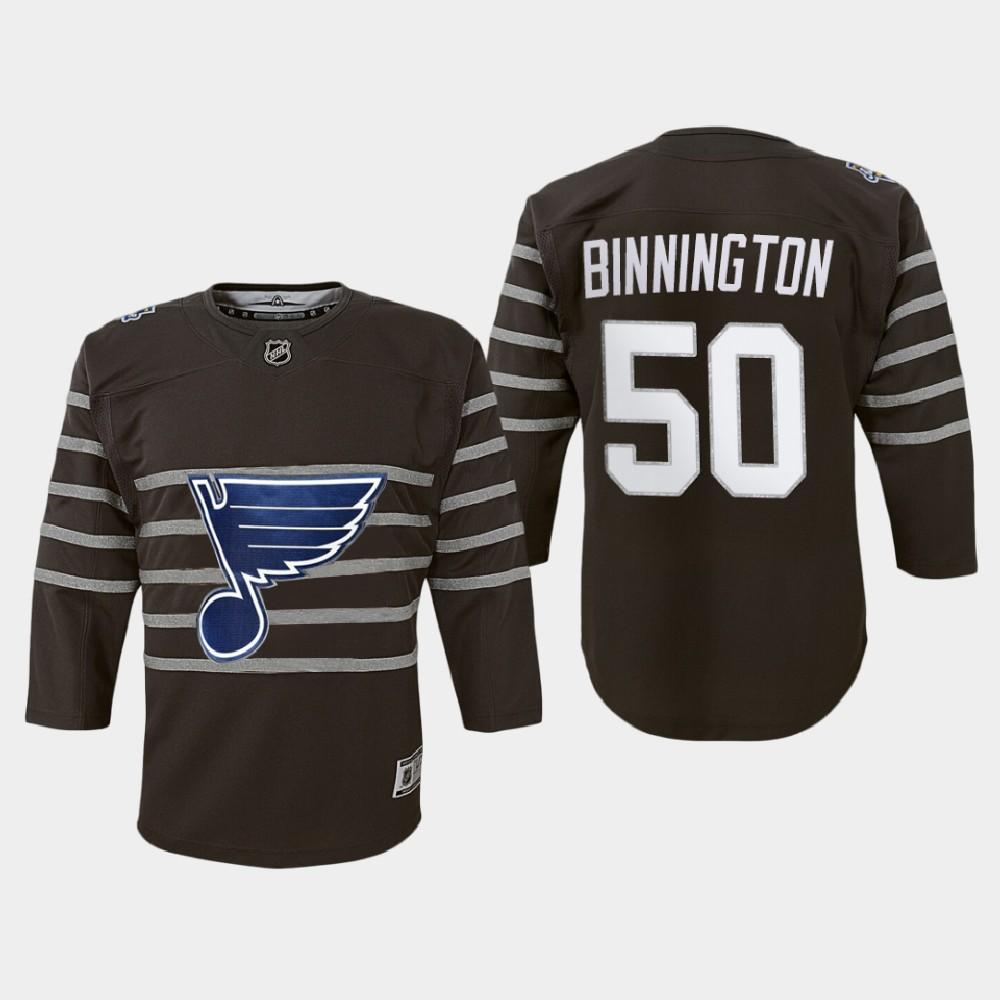 Jersey Youth Gray St. Louis Blues Jordan Binnington 2020 NHL All-Star Game