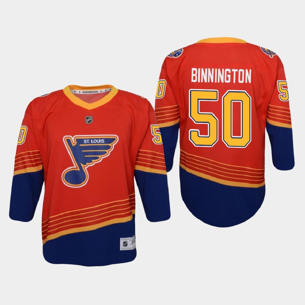 Jersey Reverse Retro Red Youth St. Louis Blues Jordan Binnington