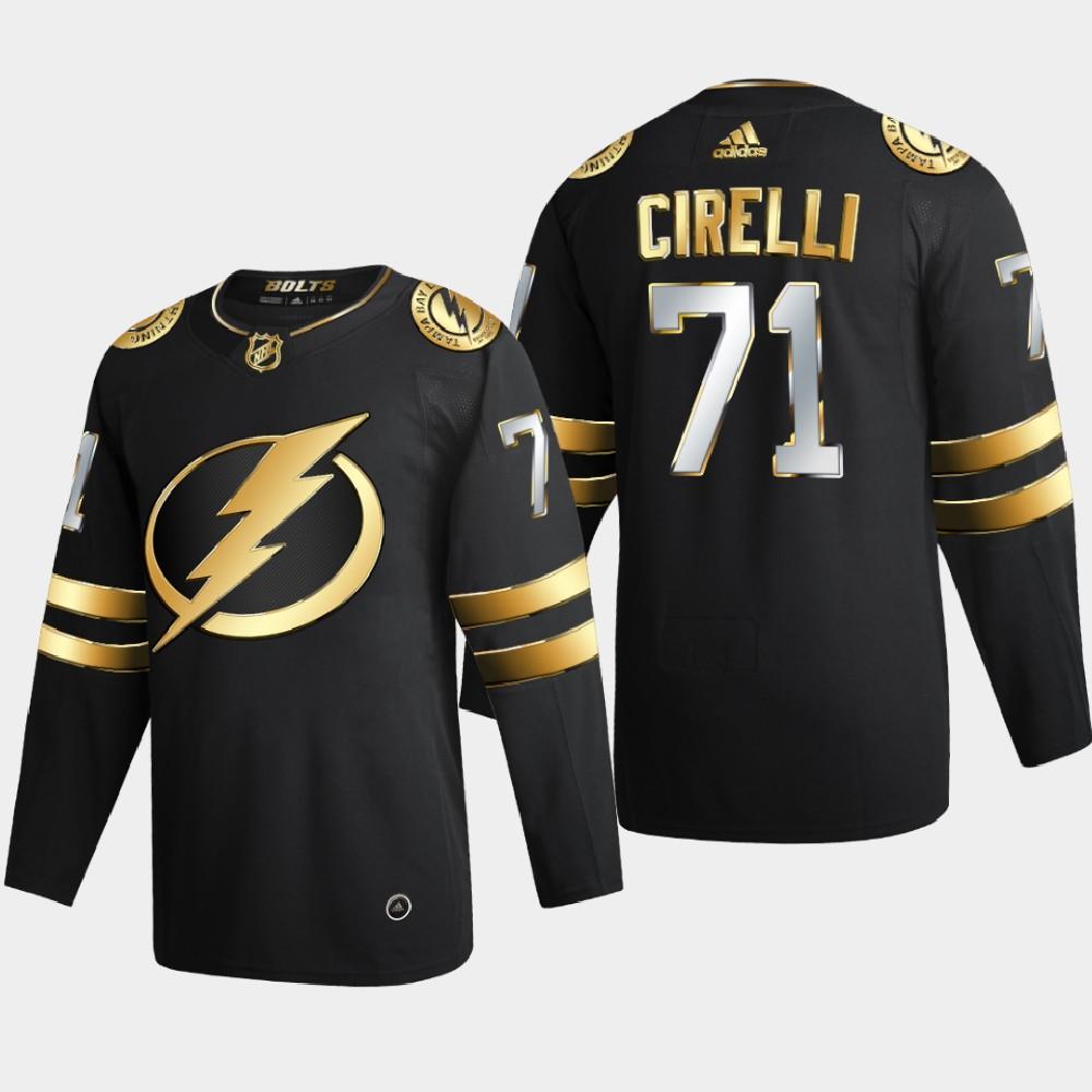 Men's Jersey Black Authentic Golden Tampa Bay Lightning Anthony Cirelli