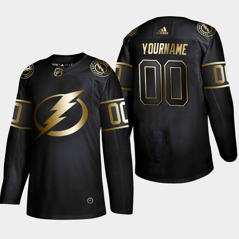 Men's Jersey Black Custom NHL Golden Edition Tampa Bay Lightning