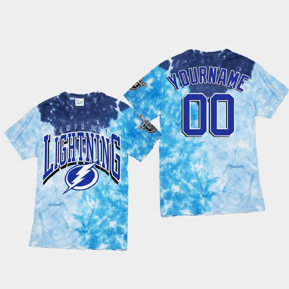 Men's Blue Custom Tampa Bay Lightning T-Shirt Vintage Tubular