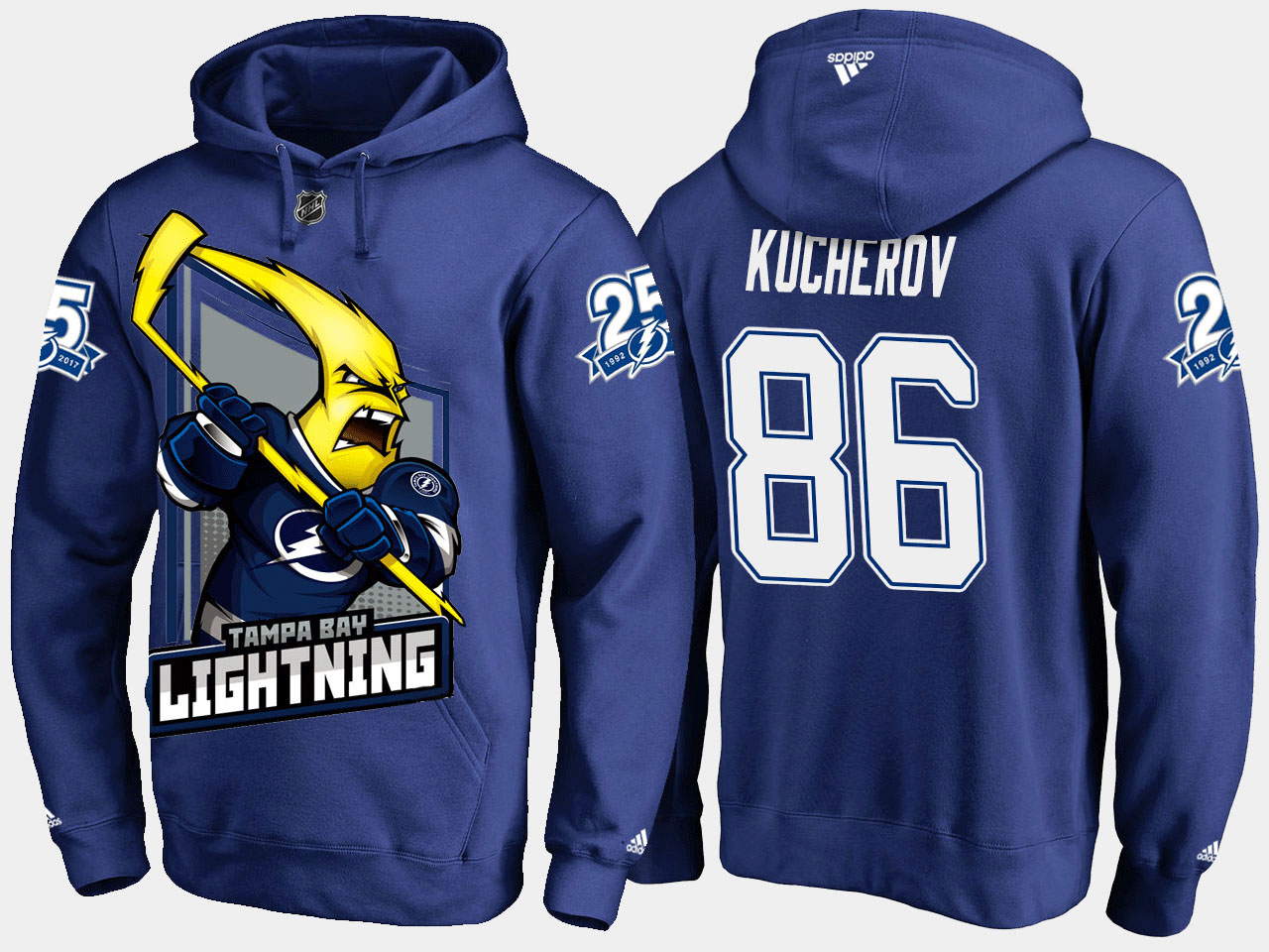 Men's Blue Tampa Bay Lightning Nikita Kucherov Cartoon Hoodie