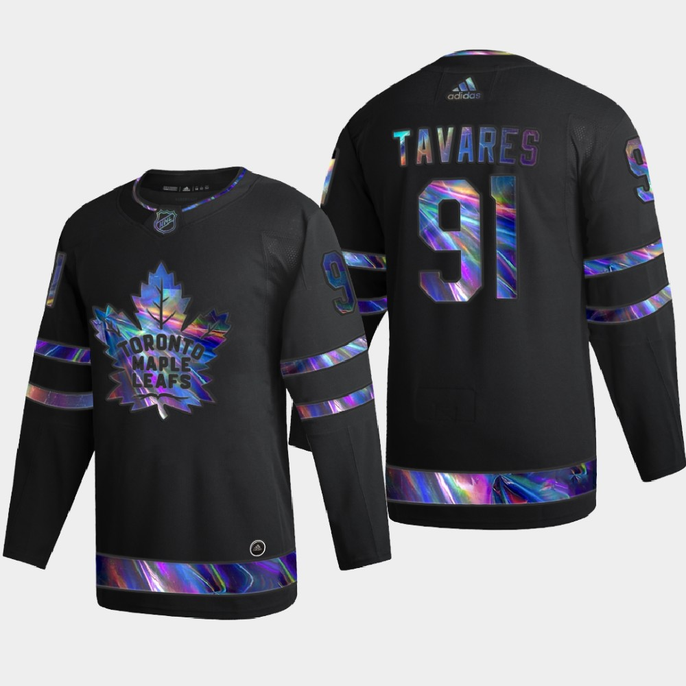 Men's Jersey Toronto Maple Leafs Black Iridescent Holographic John Tavares