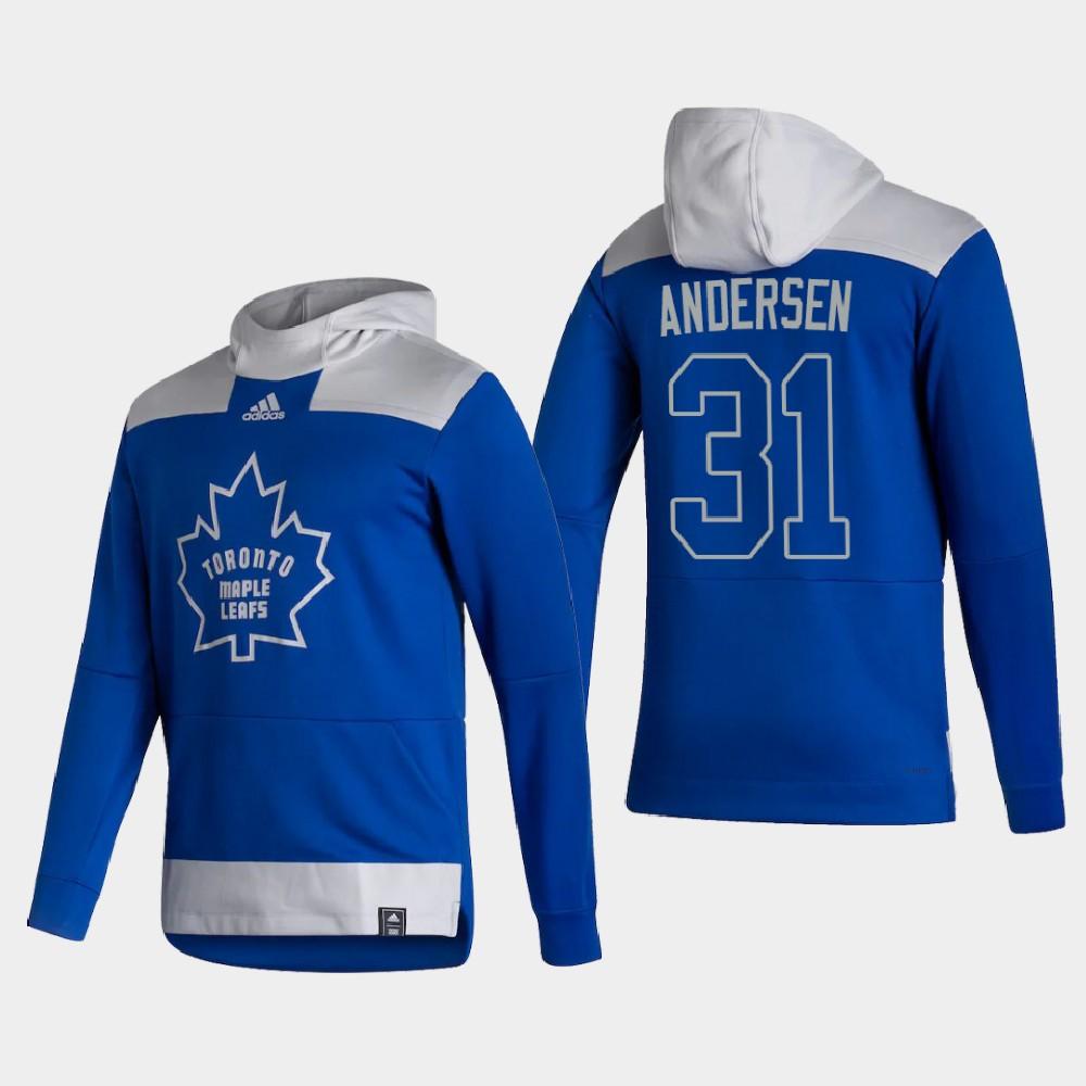 Men's Toronto Maple Leafs Blue Reverse Retro Frederik Andersen Hoodie
